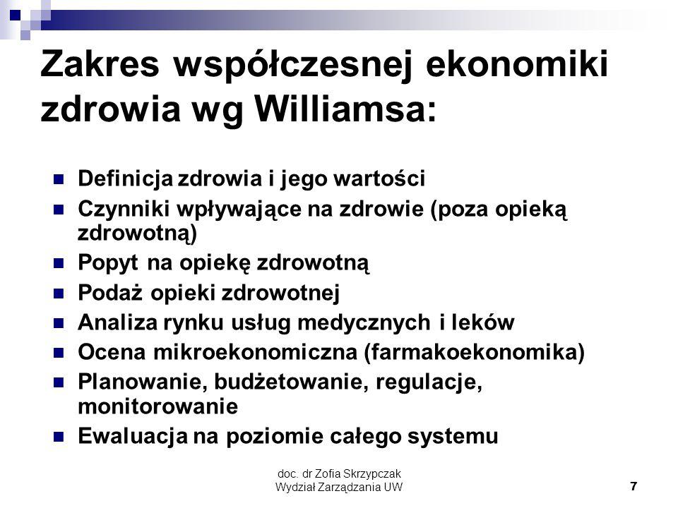 doc. dr Zofia Skrzypczak Wydział Zarządzania UW7 Zakres współczesnej ekonomiki zdrowia wg Williamsa: Definicja zdrowia i jego wartości Czynniki wpływa