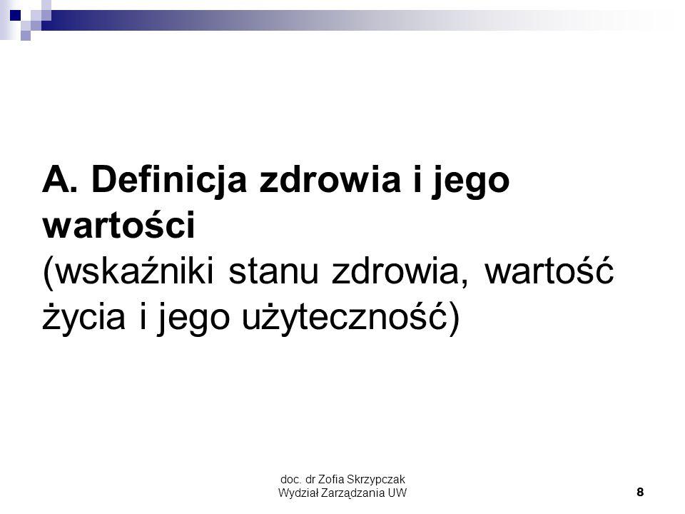doc.dr Zofia Skrzypczak Wydział Zarządzania UW8 A.