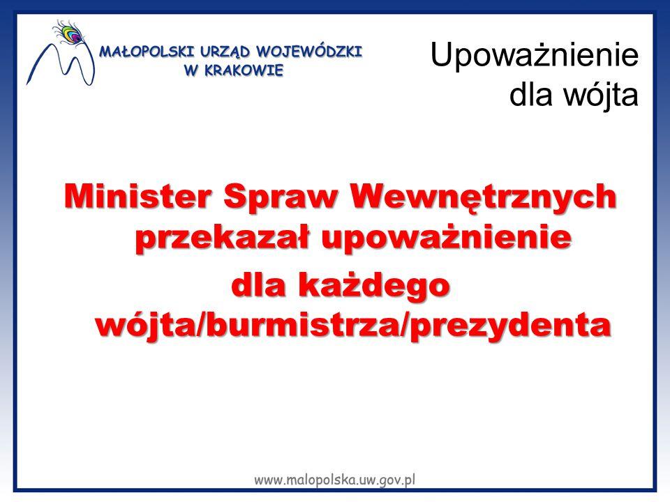 Upoważnienie dla wójta Minister Spraw Wewnętrznych przekazał upoważnienie dla każdego wójta/burmistrza/prezydenta