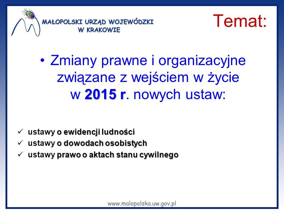 Temat: 2015 rZmiany prawne i organizacyjne związane z wejściem w życie w 2015 r. nowych ustaw: o ewidencji ludności ustawy o ewidencji ludności o dowo