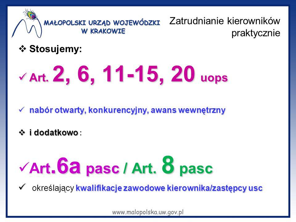 Zatrudnianie kierowników praktycznie  Stosujemy: Art. 2, 6, 11-15, 20 uops Art. 2, 6, 11-15, 20 uops nabór otwarty, konkurencyjny, awans wewnętrzny n
