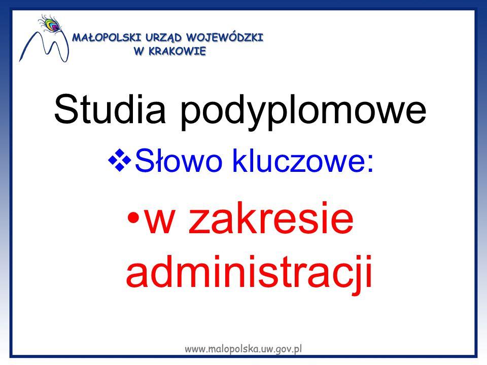 Studia podyplomowe  Słowo kluczowe: w zakresie administracji