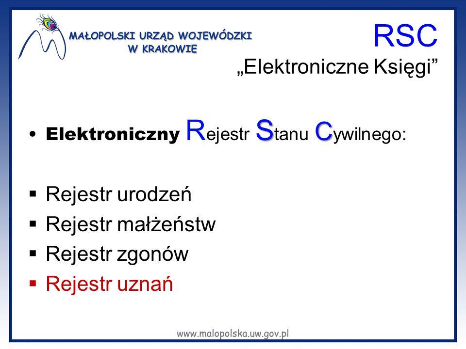 """RSC """"Elektroniczne Księgi"""" S CElektroniczny R ejestr S tanu C ywilnego:  Rejestr urodzeń  Rejestr małżeństw  Rejestr zgonów  Rejestr uznań"""