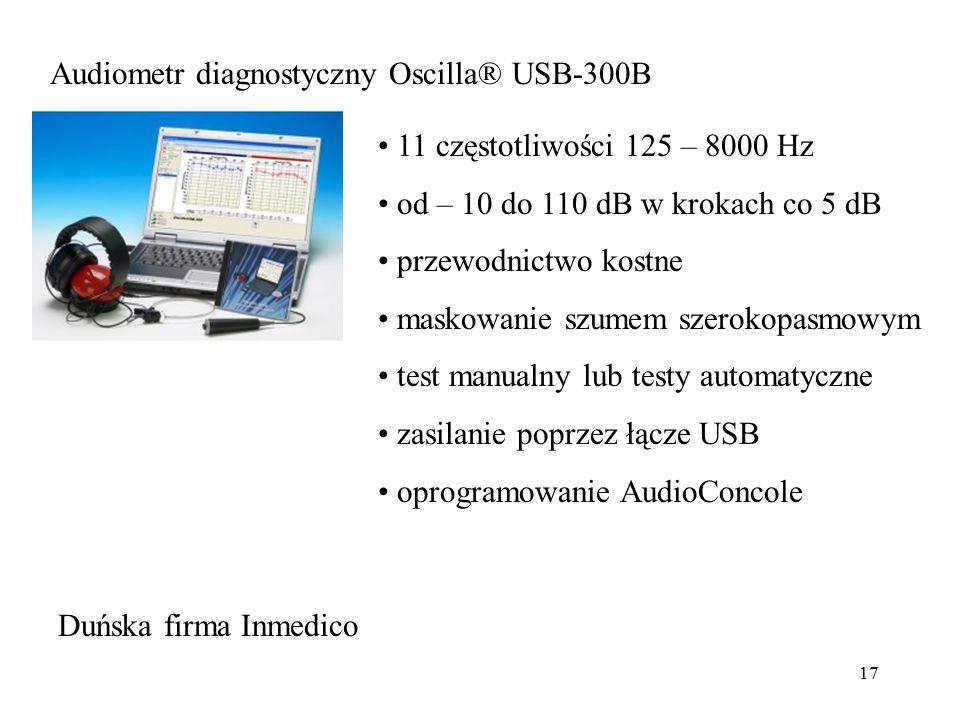 17 Audiometr diagnostyczny Oscilla® USB-300B 11 częstotliwości 125 – 8000 Hz od – 10 do 110 dB w krokach co 5 dB przewodnictwo kostne maskowanie szume
