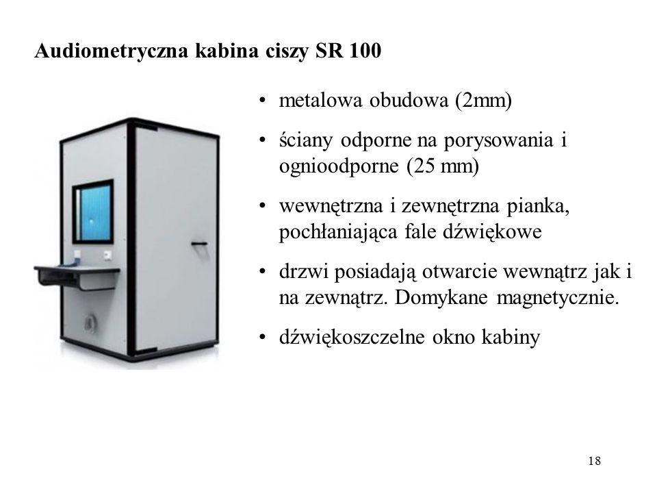 18 Audiometryczna kabina ciszy SR 100 metalowa obudowa (2mm) ściany odporne na porysowania i ognioodporne (25 mm) wewnętrzna i zewnętrzna pianka, poch
