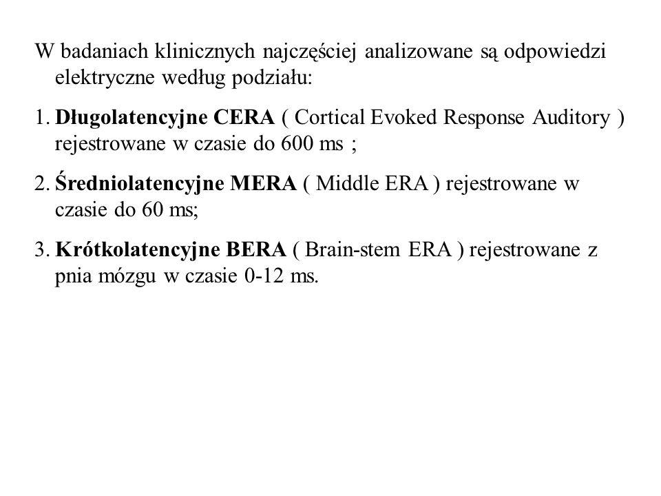 W badaniach klinicznych najczęściej analizowane są odpowiedzi elektryczne według podziału: 1.Długolatencyjne CERA ( Cortical Evoked Response Auditory