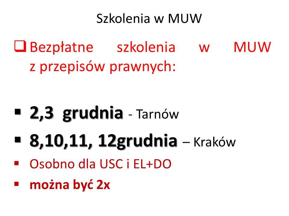 Szkolenia w MUW  Bezpłatne szkolenia w MUW z przepisów prawnych:  2,3 grudnia  2,3 grudnia - Tarnów  8,10,11, 12grudnia  8,10,11, 12grudnia – Kra