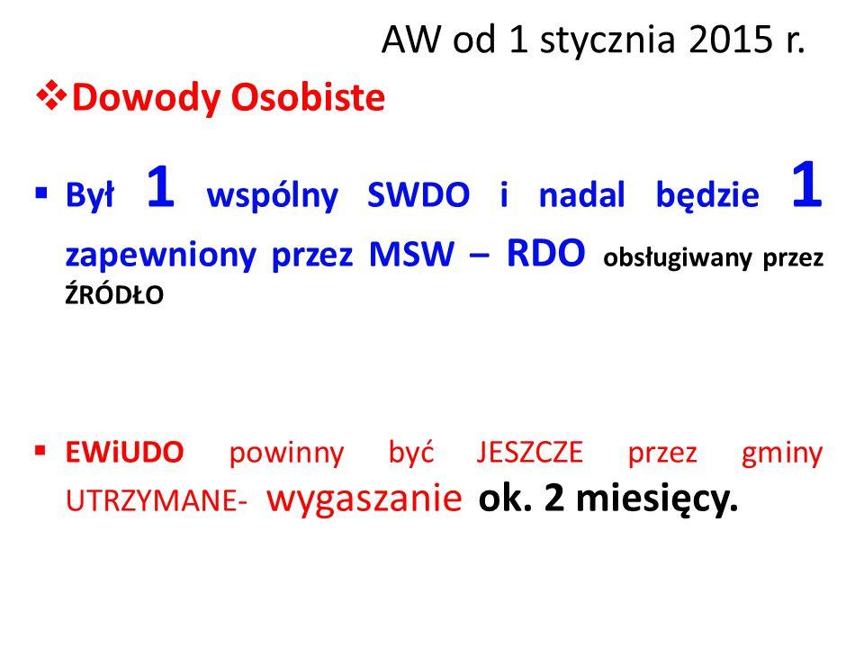 AW od 1 stycznia 2015 r.  Dowody Osobiste  Był 1 wspólny SWDO i nadal będzie 1 zapewniony przez MSW – RDO obsługiwany przez ŹRÓDŁO  EWiUDO powinny