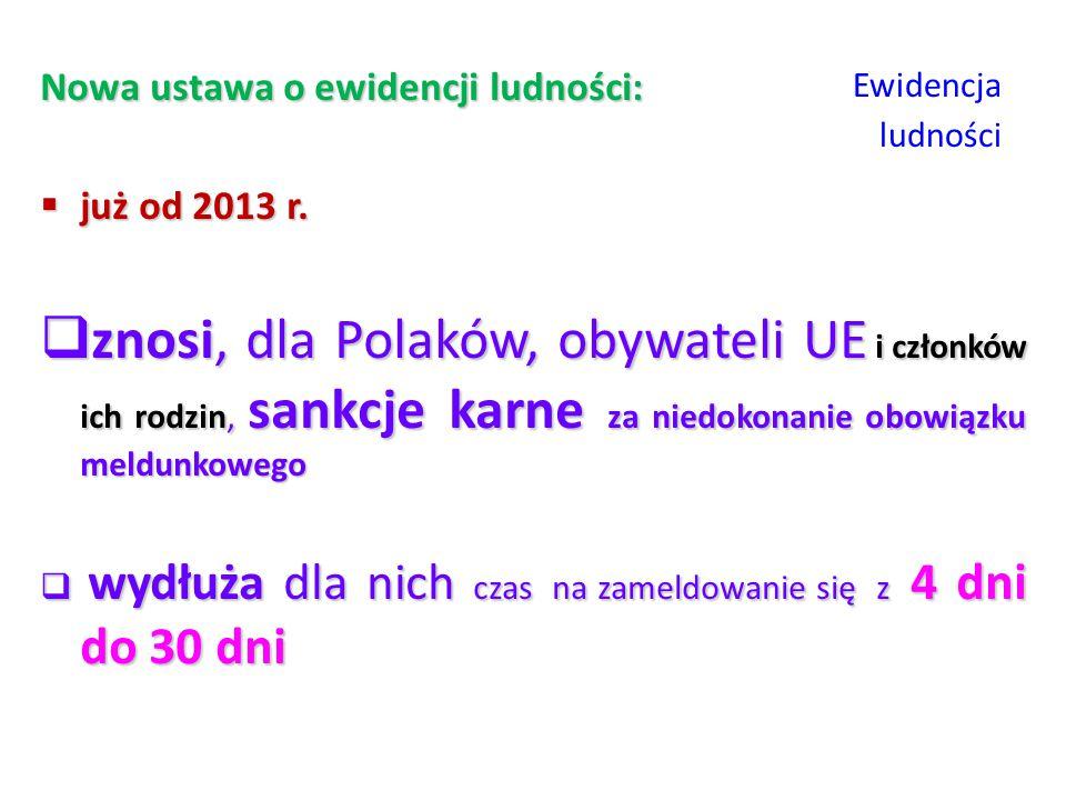 Ewidencja ludności Nowa ustawa o ewidencji ludności:  już od 2013 r.  znosi, dla Polaków, obywateli UE i członków ich rodzin, sankcje karne za niedo