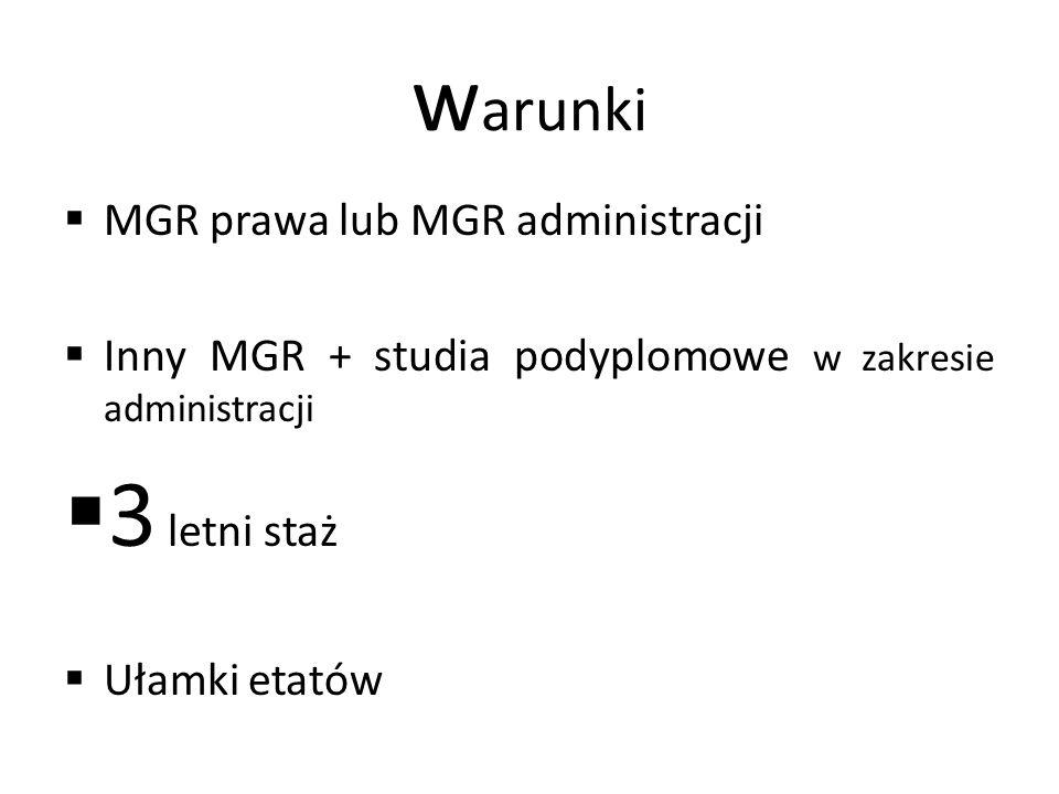 w arunki  MGR prawa lub MGR administracji  Inny MGR + studia podyplomowe w zakresie administracji  3 letni staż  Ułamki etatów