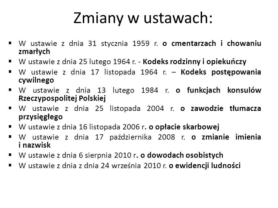 Zmiany w ustawach:  W ustawie z dnia 31 stycznia 1959 r.