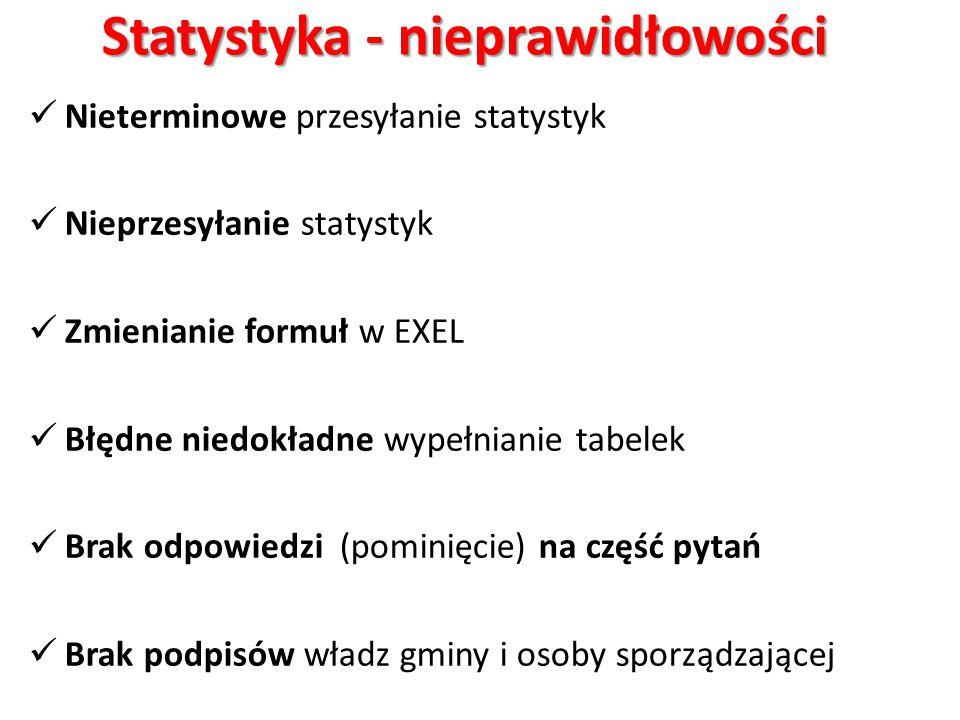 Statystyka - nieprawidłowości Nieterminowe przesyłanie statystyk Nieprzesyłanie statystyk Zmienianie formuł w EXEL Błędne niedokładne wypełnianie tabe