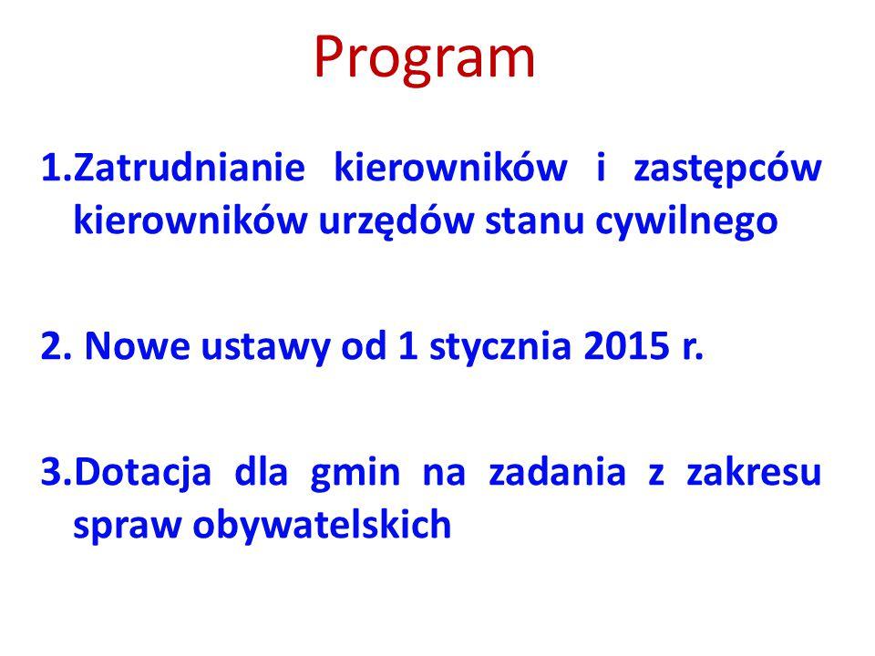 Program 1.Zatrudnianie kierowników i zastępców kierowników urzędów stanu cywilnego 2. Nowe ustawy od 1 stycznia 2015 r. 3.Dotacja dla gmin na zadania