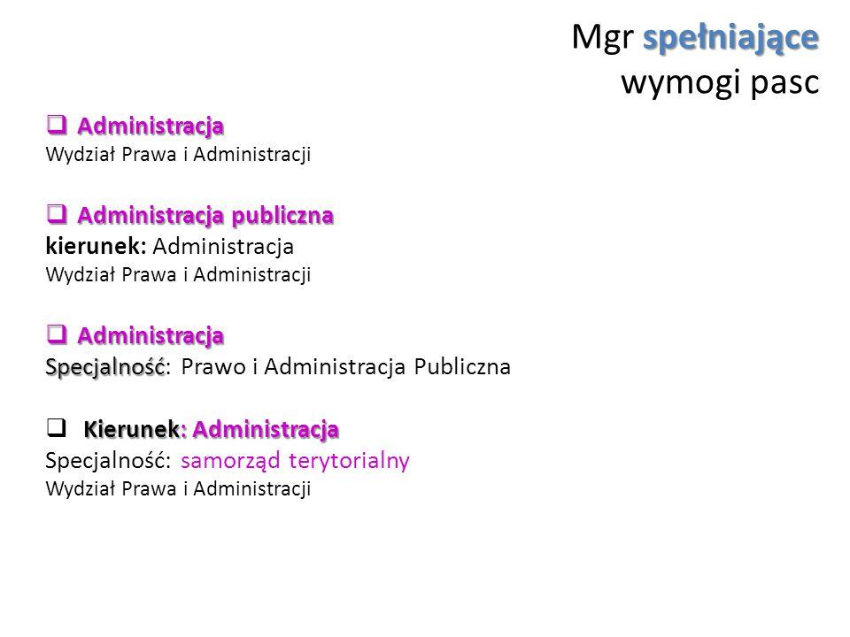 spełniające Mgr spełniające wymogi pasc  Administracja Wydział Prawa i Administracji  Administracja publiczna kierunek: Administracja Wydział Prawa