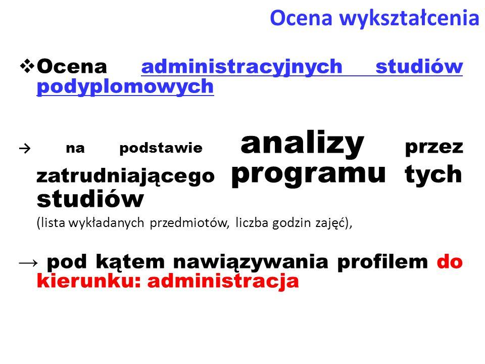  Ocena administracyjnych studiów podyplomowych → na podstawie analizy przez zatrudniającego programu tych studiów (lista wykładanych przedmiotów, liczba godzin zajęć), → pod kątem nawiązywania profilem do kierunku: administracja Ocena wykształcenia