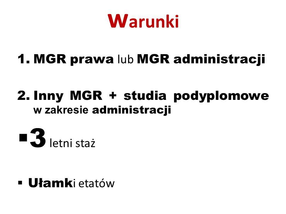 w arunki 1.MGR prawa lub MGR administracji 2.Inny MGR + studia podyplomowe w zakresie administracji  3 letni staż  Ułamk i etatów
