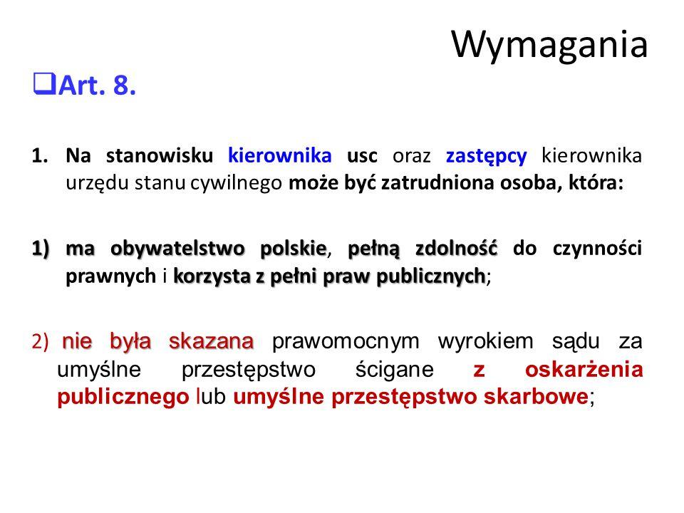 Wymagania  Art.8.