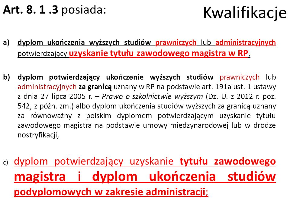 Kwalifikacje Art.8.