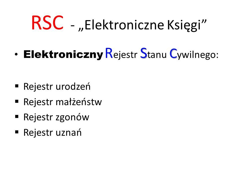 """RSC - """"Elektroniczne Księgi S C Elektroniczny R ejestr S tanu C ywilnego:  Rejestr urodzeń  Rejestr małżeństw  Rejestr zgonów  Rejestr uznań"""