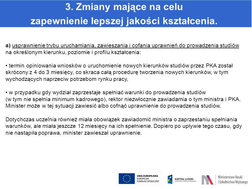 3. Zmiany mające na celu zapewnienie lepszej jakości kształcenia. a) usprawnienie trybu uruchamiania, zawieszania i cofania uprawnień do prowadzenia s