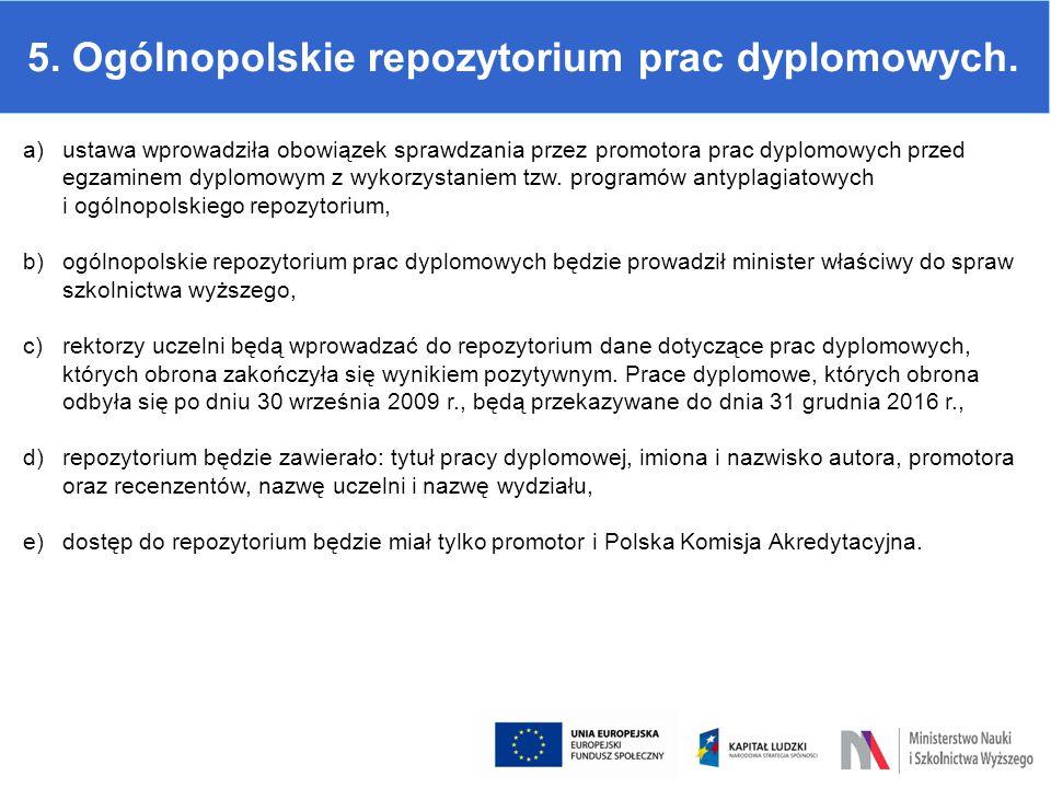5. Ogólnopolskie repozytorium prac dyplomowych. a)ustawa wprowadziła obowiązek sprawdzania przez promotora prac dyplomowych przed egzaminem dyplomowym