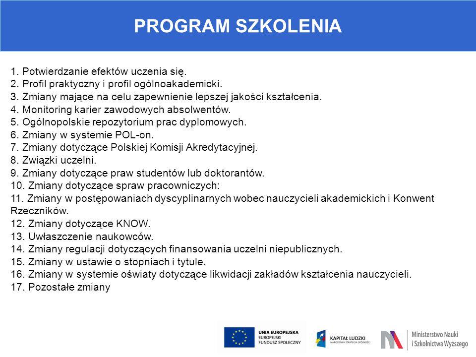 PROGRAM SZKOLENIA 1. Potwierdzanie efektów uczenia się. 2. Profil praktyczny i profil ogólnoakademicki. 3. Zmiany mające na celu zapewnienie lepszej j
