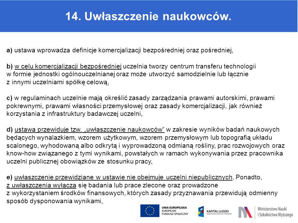 14. Uwłaszczenie naukowców. a) ustawa wprowadza definicje komercjalizacji bezpośredniej oraz pośredniej, b) w celu komercjalizacji bezpośredniej uczel