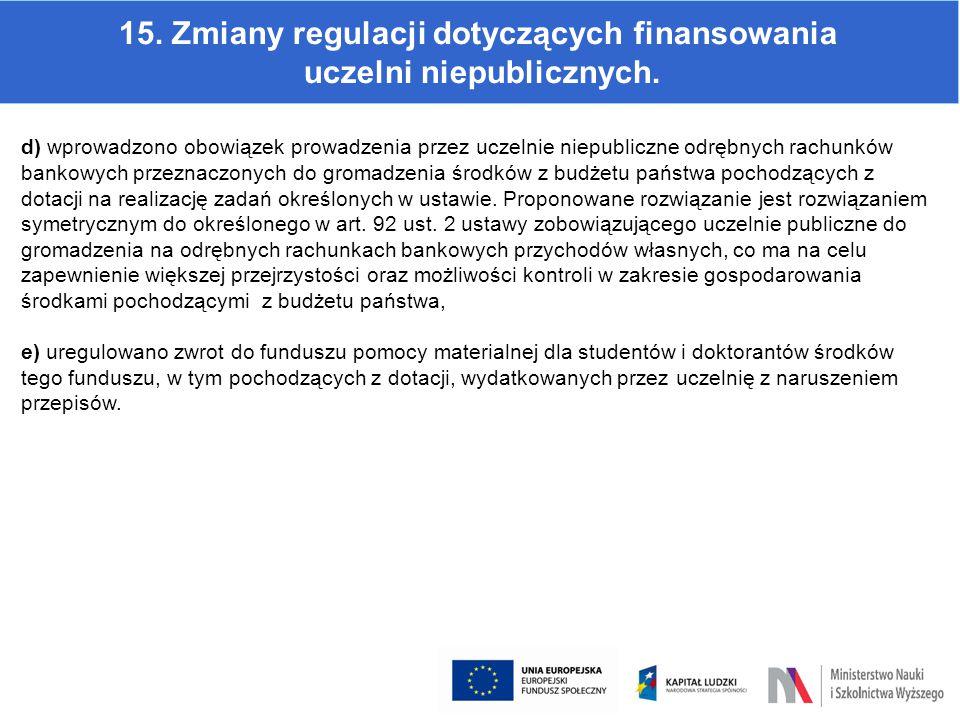 15. Zmiany regulacji dotyczących finansowania uczelni niepublicznych. d) wprowadzono obowiązek prowadzenia przez uczelnie niepubliczne odrębnych rachu