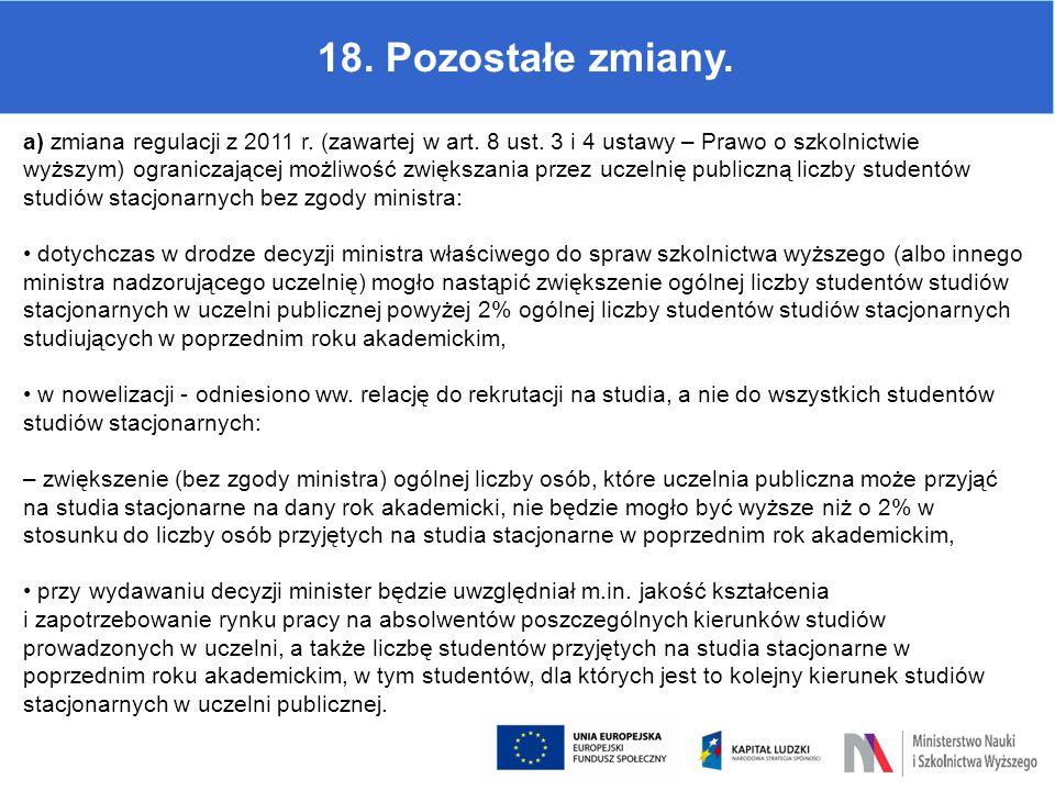 18. Pozostałe zmiany. a) zmiana regulacji z 2011 r. (zawartej w art. 8 ust. 3 i 4 ustawy – Prawo o szkolnictwie wyższym) ograniczającej możliwość zwię