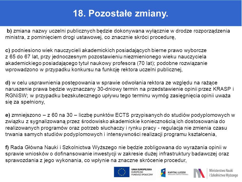 18. Pozostałe zmiany. b) zmiana nazwy uczelni publicznych będzie dokonywana wyłącznie w drodze rozporządzenia ministra, z pominięciem drogi ustawowej,