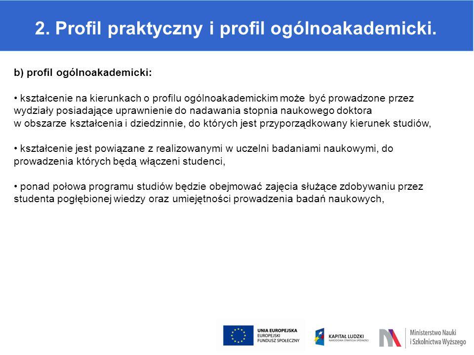 2. Profil praktyczny i profil ogólnoakademicki. b) profil ogólnoakademicki: kształcenie na kierunkach o profilu ogólnoakademickim może być prowadzone