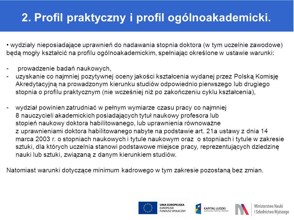 2.Profil praktyczny i profil ogólnoakademicki.