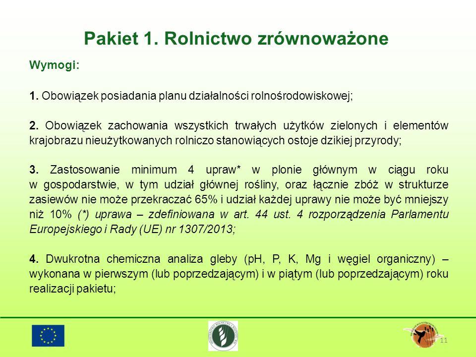 Pakiet 1. Rolnictwo zrównoważone 11 Wymogi: 1. Obowiązek posiadania planu działalności rolnośrodowiskowej; 2. Obowiązek zachowania wszystkich trwałych