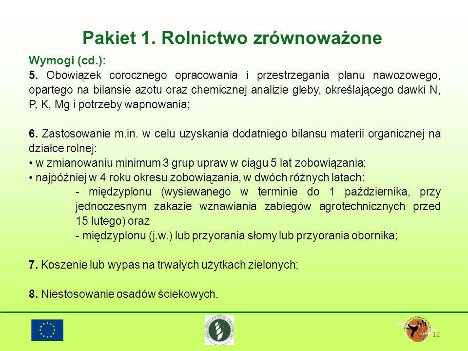 Pakiet 1. Rolnictwo zrównoważone 12 Wymogi (cd.): 5. Obowiązek corocznego opracowania i przestrzegania planu nawozowego, opartego na bilansie azotu or