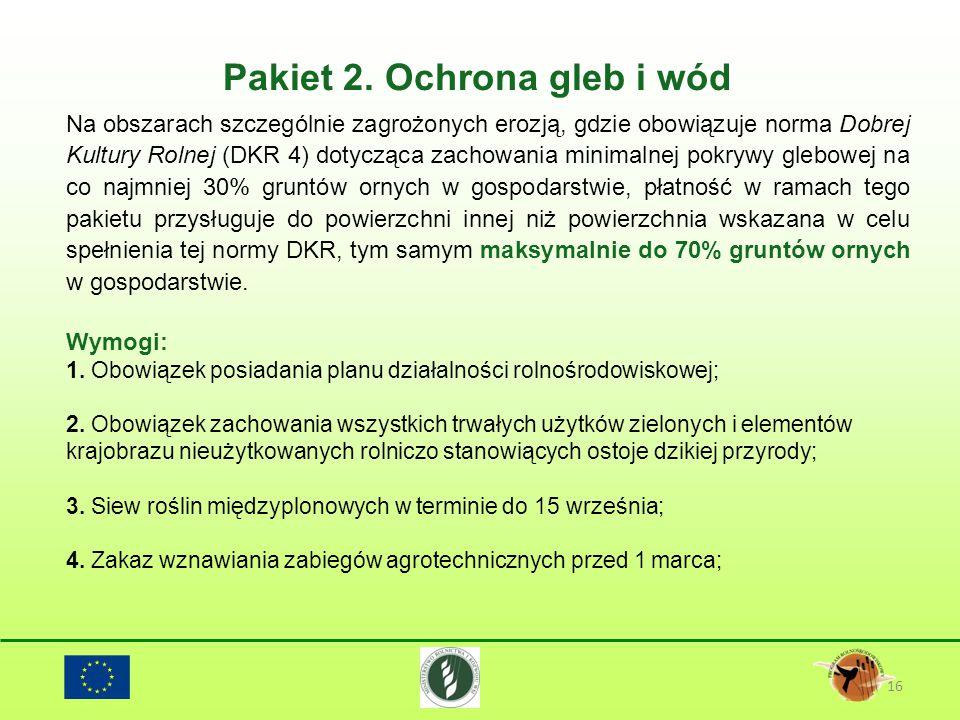 Pakiet 2. Ochrona gleb i wód 16 Na obszarach szczególnie zagrożonych erozją, gdzie obowiązuje norma Dobrej Kultury Rolnej (DKR 4) dotycząca zachowania