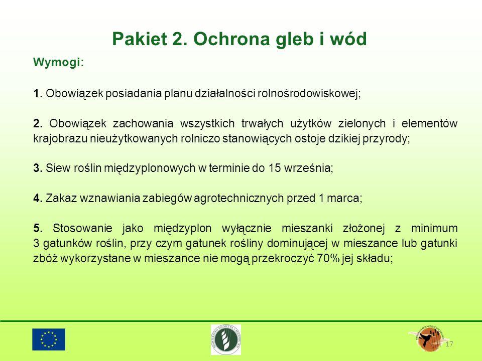 Pakiet 2. Ochrona gleb i wód 17 Wymogi: 1. Obowiązek posiadania planu działalności rolnośrodowiskowej; 2. Obowiązek zachowania wszystkich trwałych uży