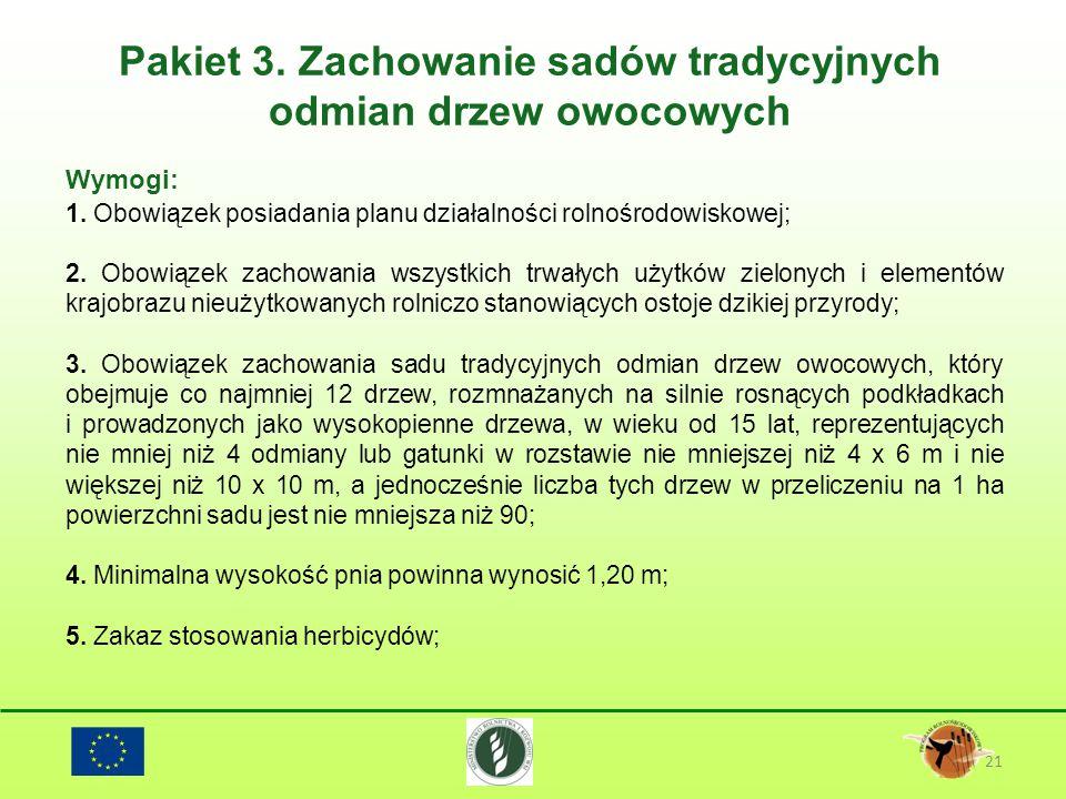 Pakiet 3. Zachowanie sadów tradycyjnych odmian drzew owocowych 21 Wymogi: 1. Obowiązek posiadania planu działalności rolnośrodowiskowej; 2. Obowiązek