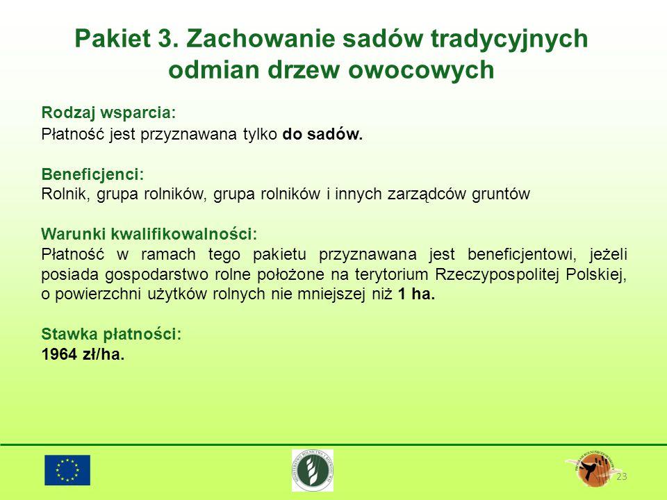Pakiet 3. Zachowanie sadów tradycyjnych odmian drzew owocowych 23 Rodzaj wsparcia: Płatność jest przyznawana tylko do sadów. Beneficjenci: Rolnik, gru