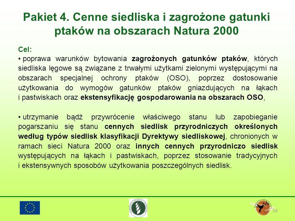 Pakiet 4. Cenne siedliska i zagrożone gatunki ptaków na obszarach Natura 2000 24 Cel: poprawa warunków bytowania zagrożonych gatunków ptaków, których