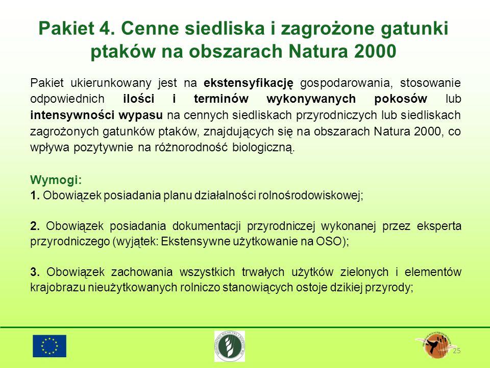 Pakiet 4. Cenne siedliska i zagrożone gatunki ptaków na obszarach Natura 2000 25 Pakiet ukierunkowany jest na ekstensyfikację gospodarowania, stosowan