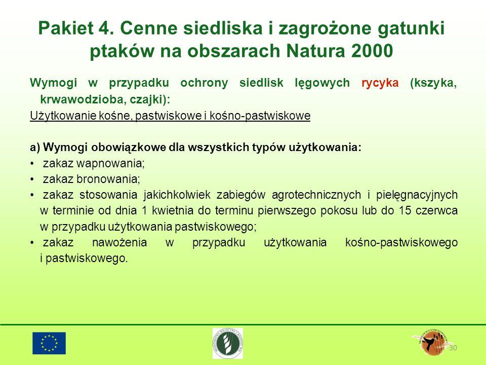Pakiet 4. Cenne siedliska i zagrożone gatunki ptaków na obszarach Natura 2000 30 Wymogi w przypadku ochrony siedlisk lęgowych rycyka (kszyka, krwawodz