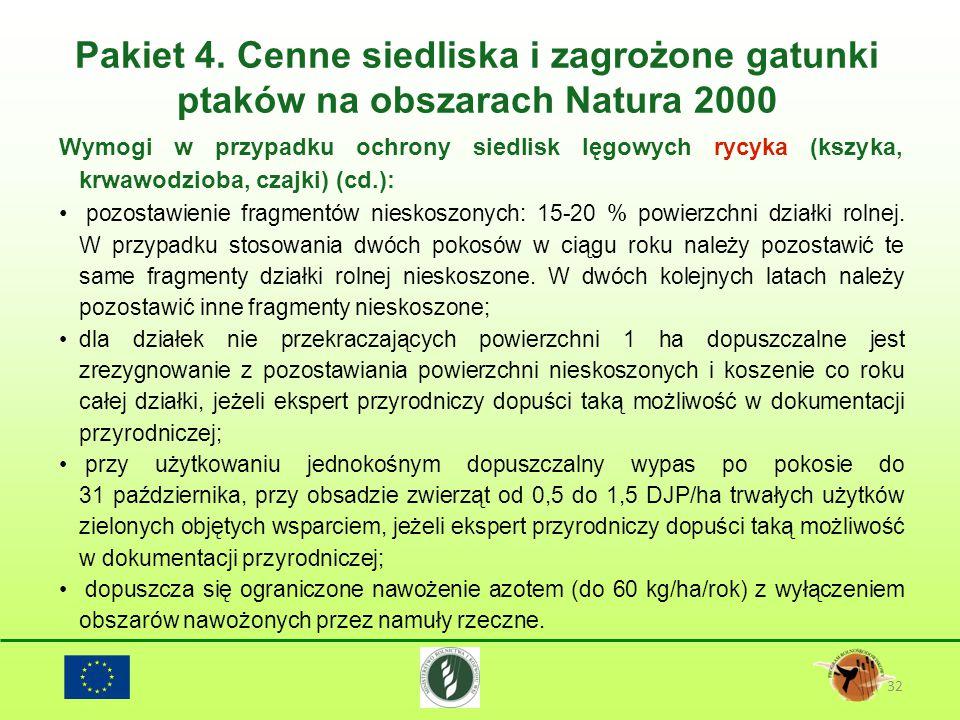 Pakiet 4. Cenne siedliska i zagrożone gatunki ptaków na obszarach Natura 2000 32 Wymogi w przypadku ochrony siedlisk lęgowych rycyka (kszyka, krwawodz
