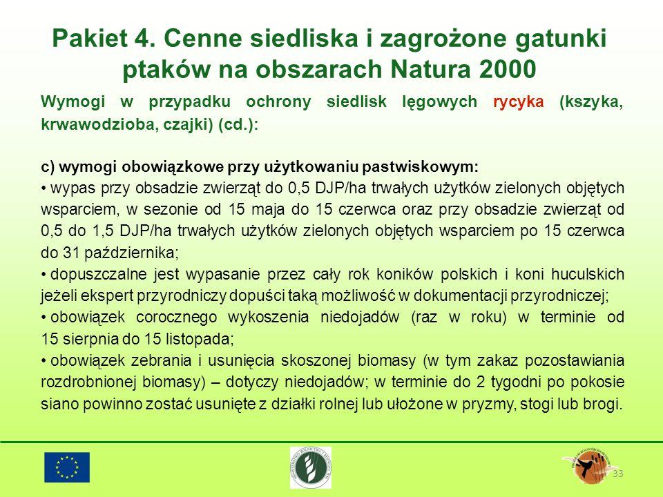 Pakiet 4. Cenne siedliska i zagrożone gatunki ptaków na obszarach Natura 2000 33 Wymogi w przypadku ochrony siedlisk lęgowych rycyka (kszyka, krwawodz