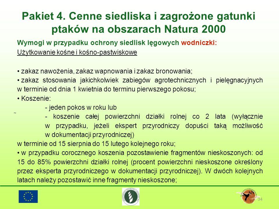 Pakiet 4. Cenne siedliska i zagrożone gatunki ptaków na obszarach Natura 2000 34 Wymogi w przypadku ochrony siedlisk lęgowych wodniczki: Użytkowanie k