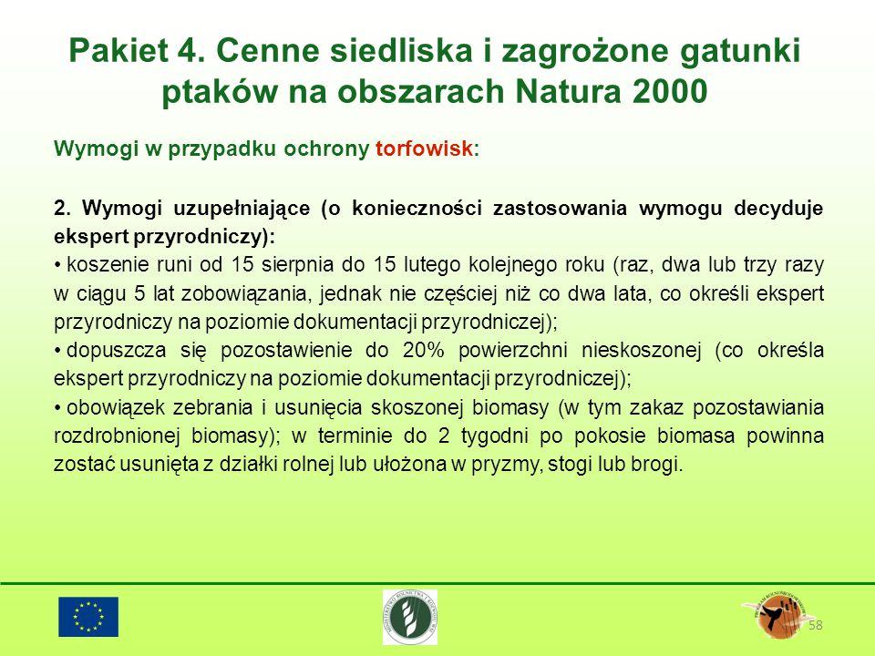 Pakiet 4. Cenne siedliska i zagrożone gatunki ptaków na obszarach Natura 2000 58 Wymogi w przypadku ochrony torfowisk: 2. Wymogi uzupełniające (o koni