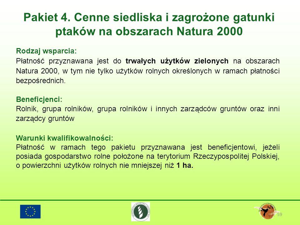 Pakiet 4. Cenne siedliska i zagrożone gatunki ptaków na obszarach Natura 2000 59 Rodzaj wsparcia: Płatność przyznawana jest do trwałych użytków zielon