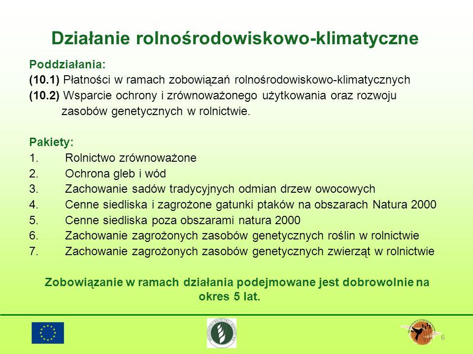 Działanie rolnośrodowiskowo-klimatyczne 6 Poddziałania: (10.1) Płatności w ramach zobowiązań rolnośrodowiskowo-klimatycznych (10.2) Wsparcie ochrony i