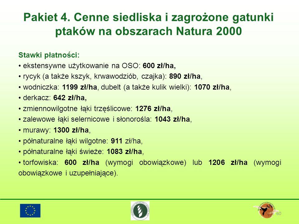 Pakiet 4. Cenne siedliska i zagrożone gatunki ptaków na obszarach Natura 2000 60 Stawki płatności: ekstensywne użytkowanie na OSO: 600 zł/ha, rycyk (a