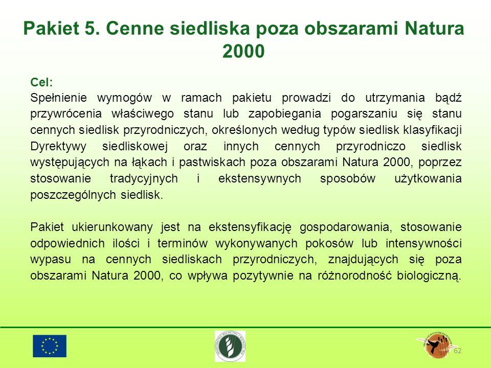 Pakiet 5. Cenne siedliska poza obszarami Natura 2000 62 Cel: Spełnienie wymogów w ramach pakietu prowadzi do utrzymania bądź przywrócenia właściwego s