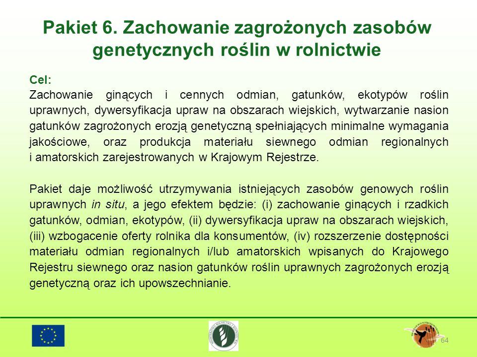 Pakiet 6. Zachowanie zagrożonych zasobów genetycznych roślin w rolnictwie 64 Cel: Zachowanie ginących i cennych odmian, gatunków, ekotypów roślin upra